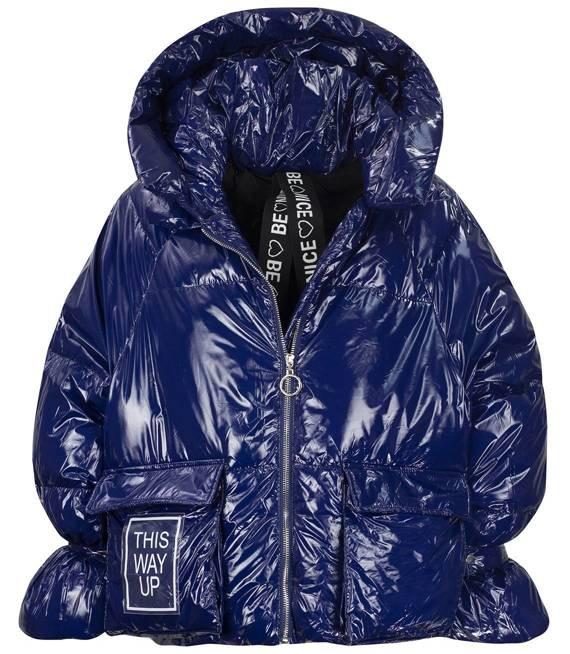 Błyszcząca krótka pikowana kurtka plecak