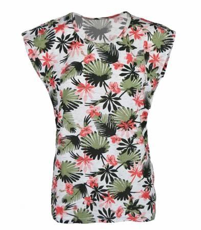 Klasyczna bluzka T-SHIRT LIŚCIE kwiaty