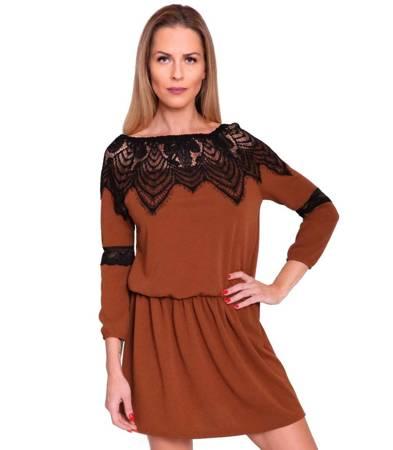 Mini sukienka w gumkę koronka i falbanka