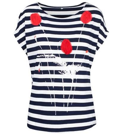 Modna bluzka t-shirt PASKI Aplikacja KWIAT