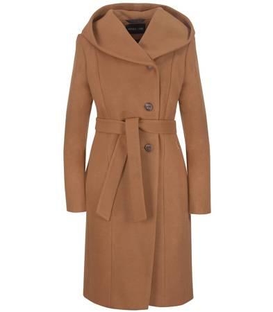 Piękny długi płaszcz wiązany z kapturem