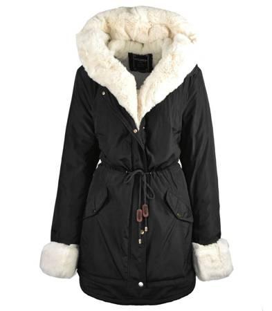 Płaszcz zimowa parka Lux z białym futrem